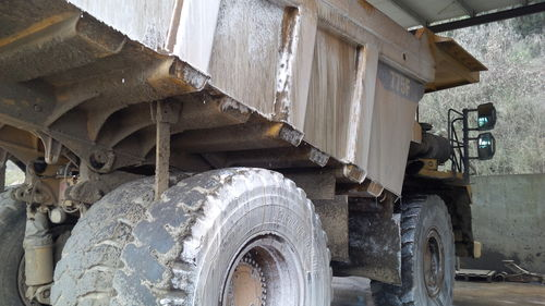 Foamed up dump truck